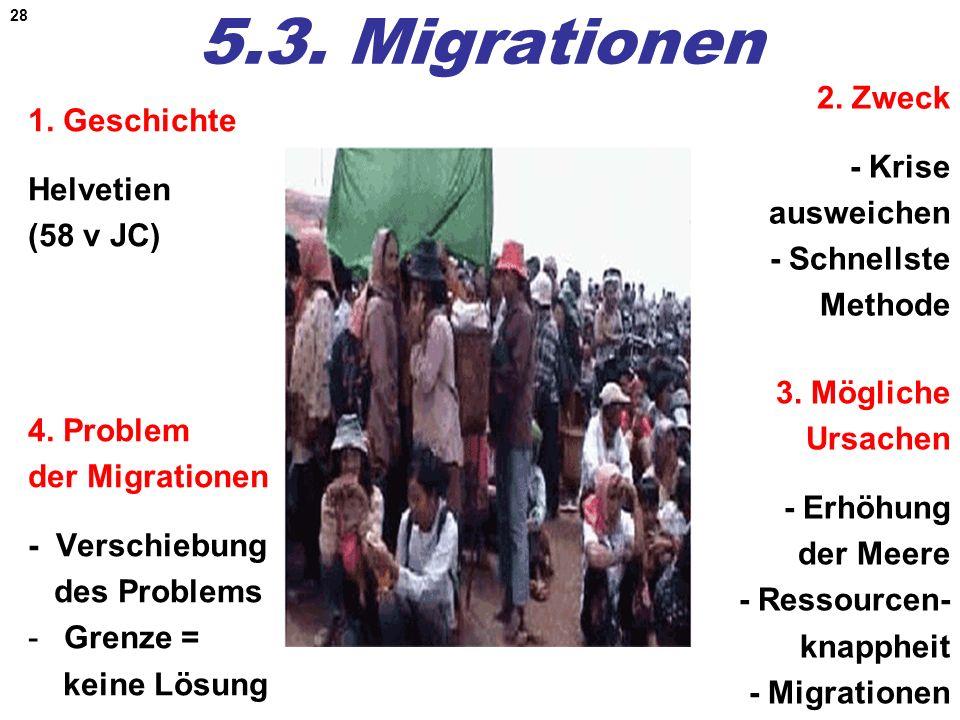 28 5.3. Migrationen 1. Geschichte Helvetien (58 v JC) 2. Zweck - Krise ausweichen - Schnellste Methode 4. Problem der Migrationen - Verschiebung des P