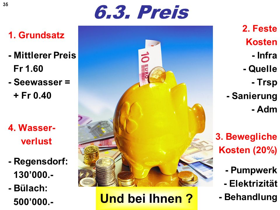 35 6.3. Preis 1. Grundsatz - Mittlerer Preis Fr 1.60 - Seewasser = + Fr 0.40 2. Feste Kosten - Infra - Quelle - Trsp - Sanierung - Adm 4. Wasser- verl