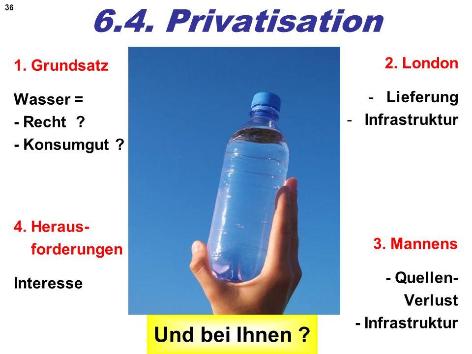 36 6.4. Privatisation 1. Grundsatz Wasser = - Recht ? - Konsumgut ? 2. London -Lieferung -Infrastruktur 4. Heraus- forderungen Interesse 3. Mannens -