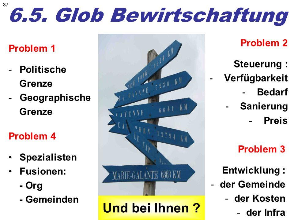37 6.5. Glob Bewirtschaftung Problem 1 -Politische Grenze -Geographische Grenze Problem 2 Steuerung : -Verfügbarkeit -Bedarf -Sanierung -Preis Problem
