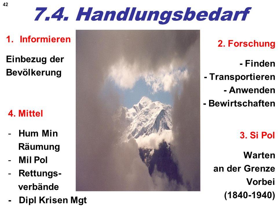 42 7.4. Handlungsbedarf 1.Informieren Einbezug der Bevölkerung 2. Forschung - Finden - Transportieren - Anwenden - Bewirtschaften 4. Mittel -Hum Min R