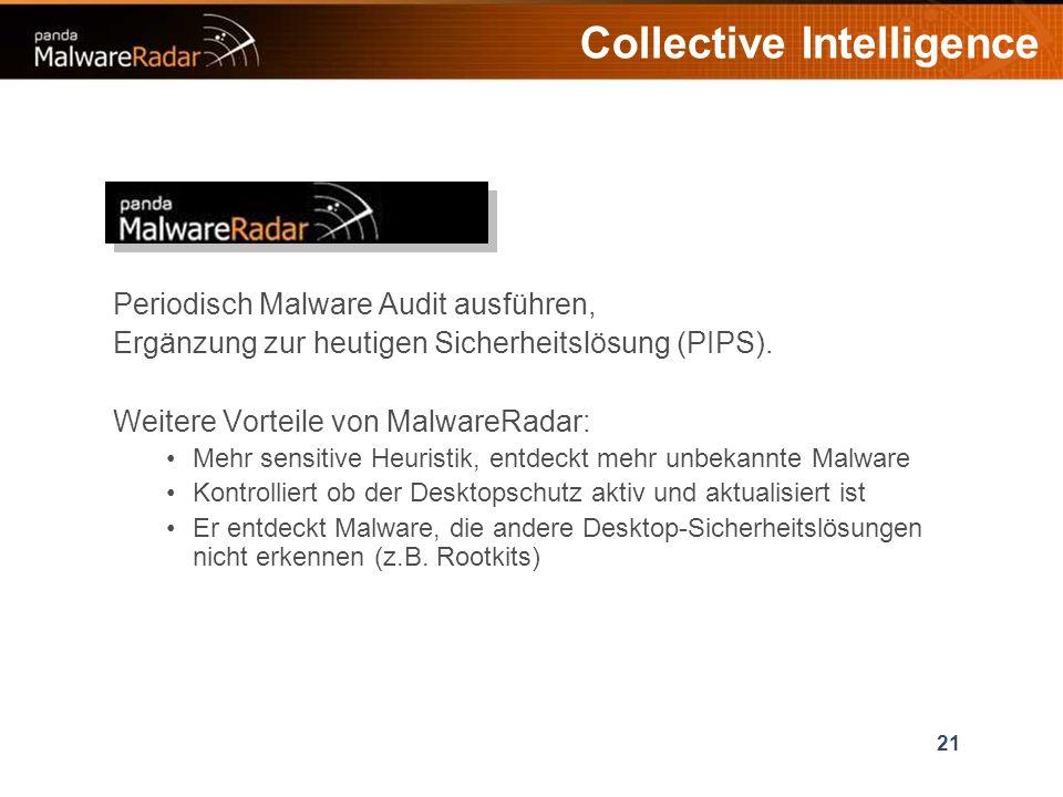 21 Collective Intelligence Periodisch Malware Audit ausführen, Ergänzung zur heutigen Sicherheitslösung (PIPS).