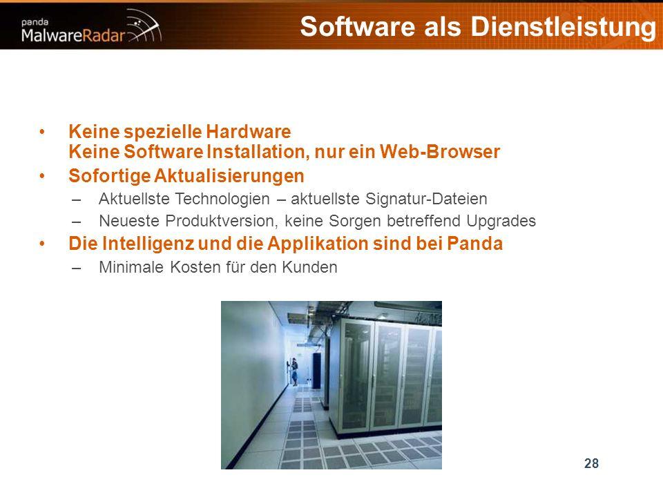 28 Software als Dienstleistung Keine spezielle Hardware Keine Software Installation, nur ein Web-Browser Sofortige Aktualisierungen –Aktuellste Technologien – aktuellste Signatur-Dateien –Neueste Produktversion, keine Sorgen betreffend Upgrades Die Intelligenz und die Applikation sind bei Panda –Minimale Kosten für den Kunden