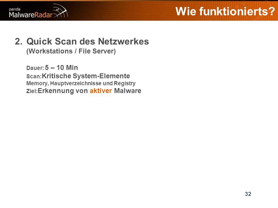 32 2.Quick Scan des Netzwerkes (Workstations / File Server) Dauer: 5 – 10 Min Scan: Kritische System-Elemente Memory, Hauptverzeichnisse und Registry Ziel: Erkennung von aktiver Malware Wie funktionierts?