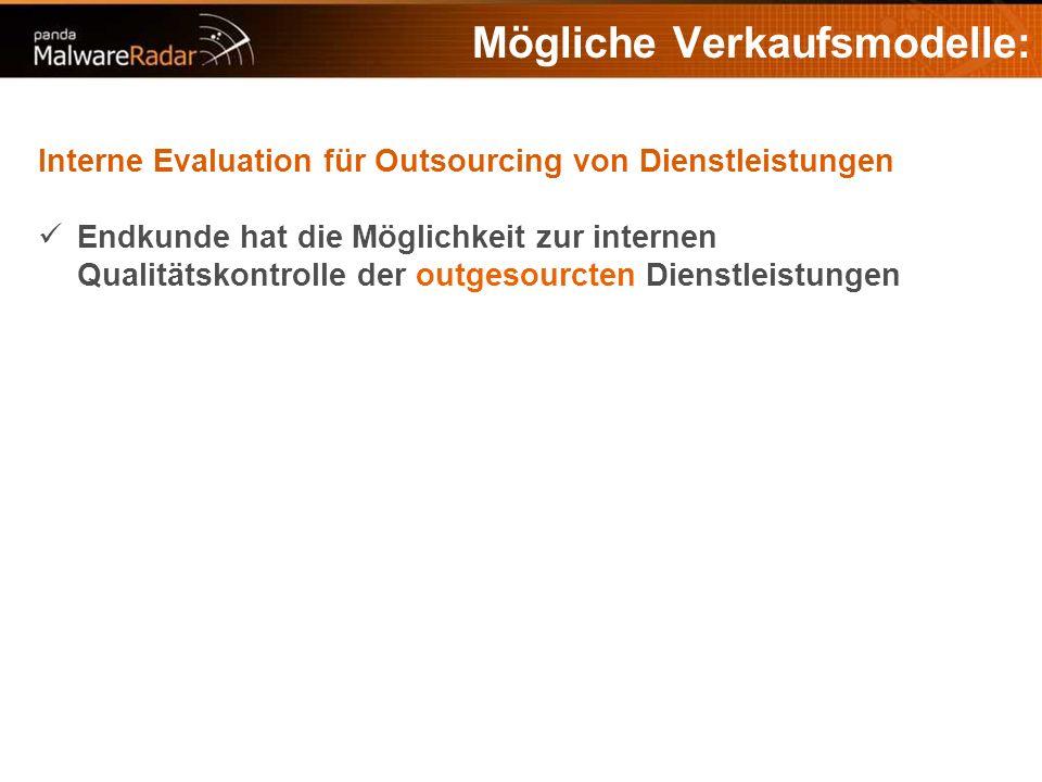 Mögliche Verkaufsmodelle: Interne Evaluation für Outsourcing von Dienstleistungen Endkunde hat die Möglichkeit zur internen Qualitätskontrolle der outgesourcten Dienstleistungen