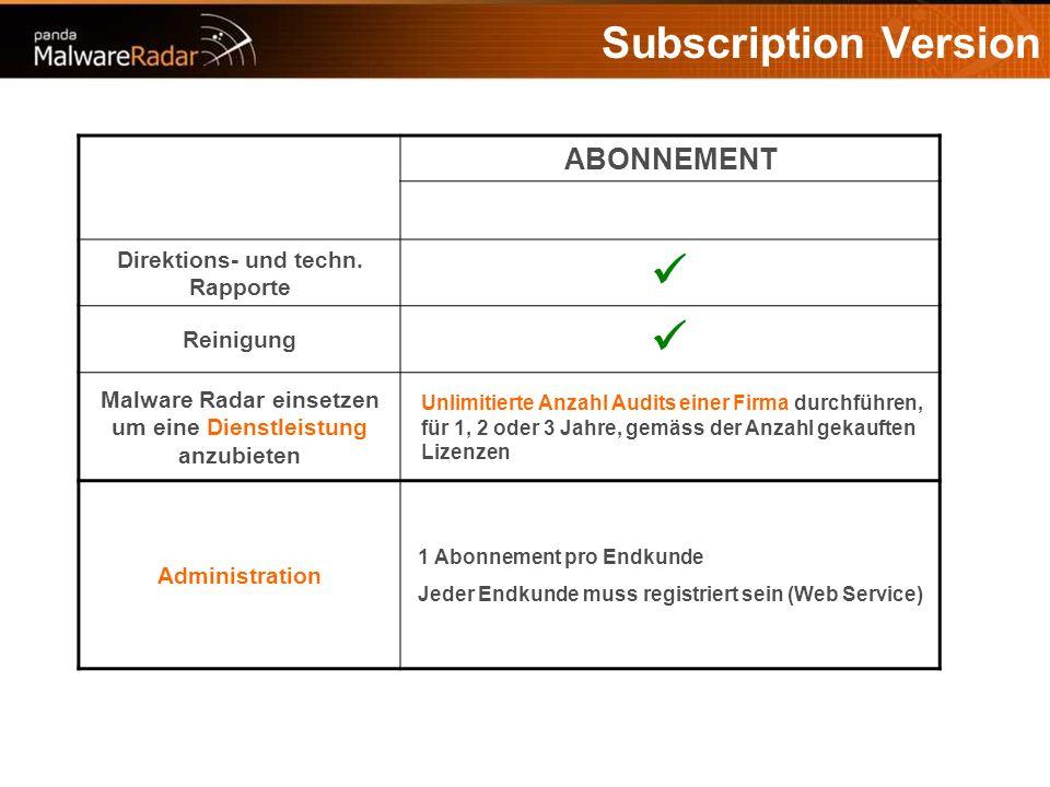 Subscription Version ABONNEMENT Direktions- und techn. Rapporte Reinigung Malware Radar einsetzen um eine Dienstleistung anzubieten Unlimitierte Anzah