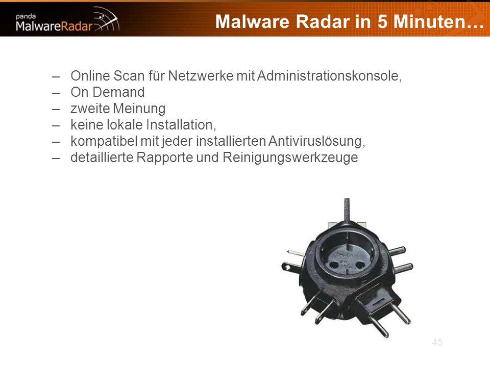 45 Malware Radar in 5 Minuten… –Online Scan für Netzwerke mit Administrationskonsole, –On Demand –zweite Meinung –keine lokale Installation, –kompatibel mit jeder installierten Antiviruslösung, –detaillierte Rapporte und Reinigungswerkzeuge