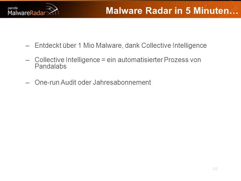 46 Malware Radar in 5 Minuten… –Entdeckt über 1 Mio Malware, dank Collective Intelligence –Collective Intelligence = ein automatisierter Prozess von Pandalabs –One-run Audit oder Jahresabonnement