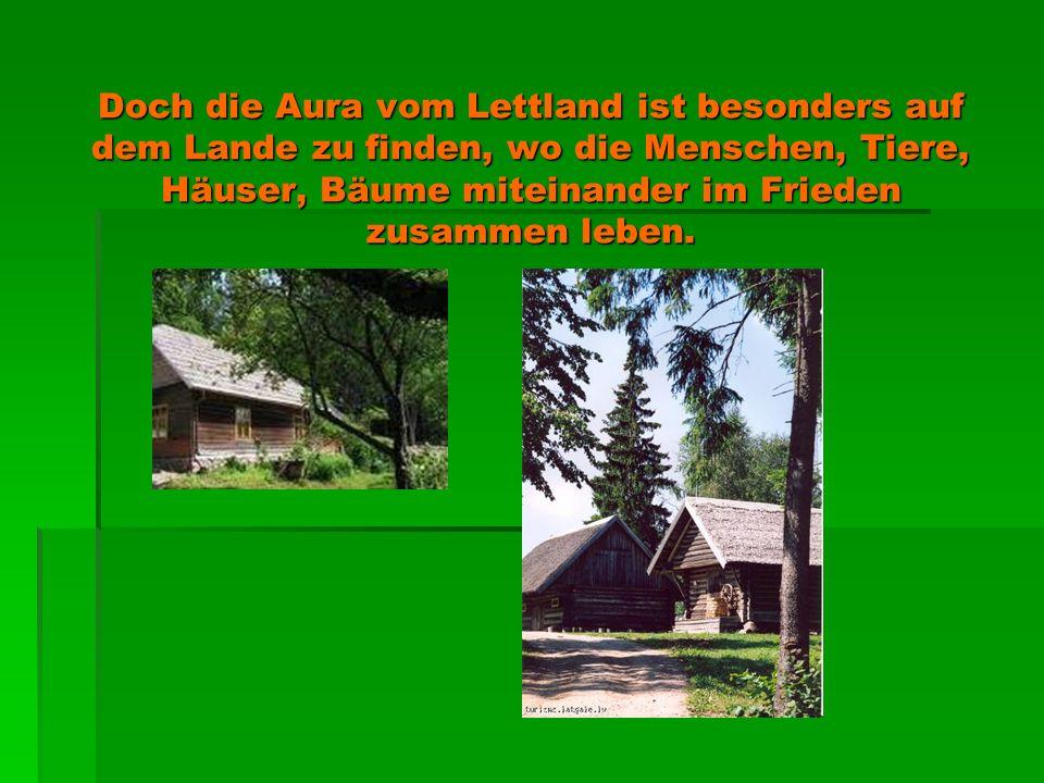Doch die Aura vom Lettland ist besonders auf dem Lande zu finden, wo die Menschen, Tiere, Häuser, Bäume miteinander im Frieden zusammen leben.