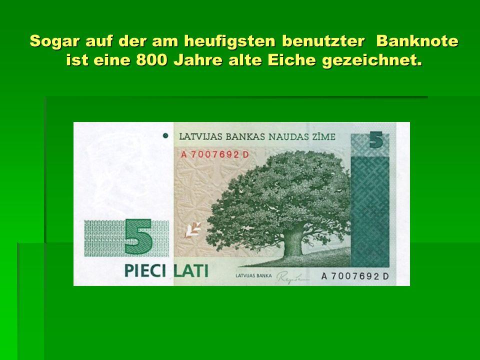 Sogar auf der am heufigsten benutzter Banknote ist eine 800 Jahre alte Eiche gezeichnet.
