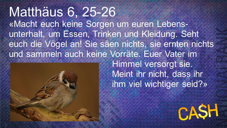 Matthäus 6, 25-26 «Macht euch keine Sorgen um euren Lebens- unterhalt, um Essen, Trinken und Kleidung. Seht euch die Vögel an! Sie säen nichts, sie er