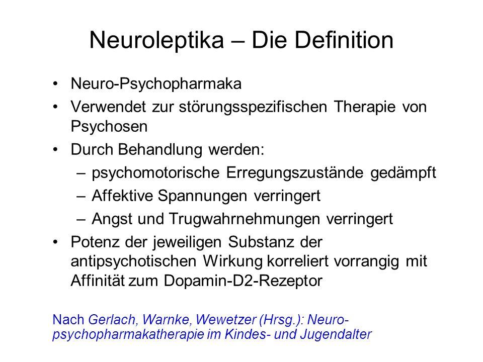 Neuroleptika – Die Definition Neuro-Psychopharmaka Verwendet zur störungsspezifischen Therapie von Psychosen Durch Behandlung werden: –psychomotorisch