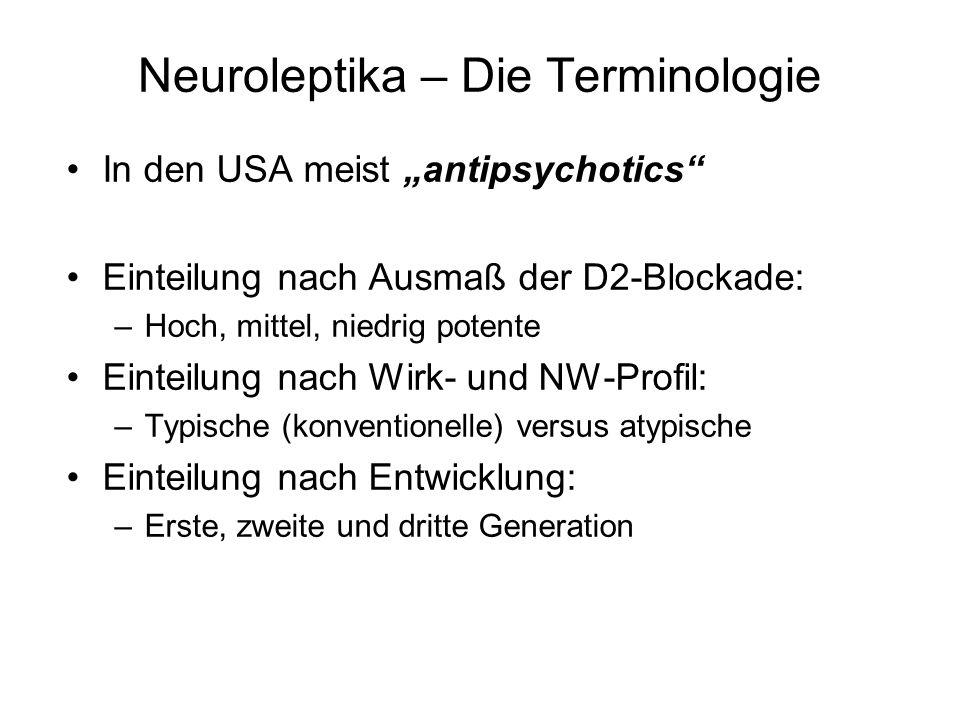 Neuroleptika – Die Terminologie In den USA meist antipsychotics Einteilung nach Ausmaß der D2-Blockade: –Hoch, mittel, niedrig potente Einteilung nach