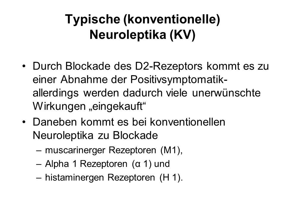 Typische (konventionelle) Neuroleptika (KV) Durch Blockade des D2-Rezeptors kommt es zu einer Abnahme der Positivsymptomatik- allerdings werden dadurc