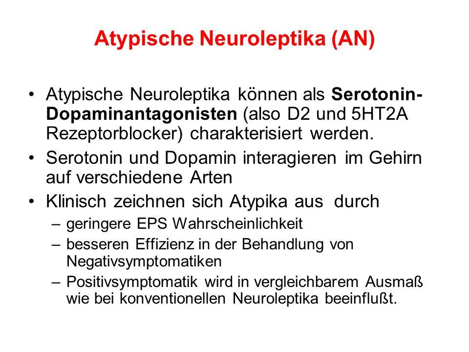 Atypische Neuroleptika (AN) Atypische Neuroleptika können als Serotonin- Dopaminantagonisten (also D2 und 5HT2A Rezeptorblocker) charakterisiert werde