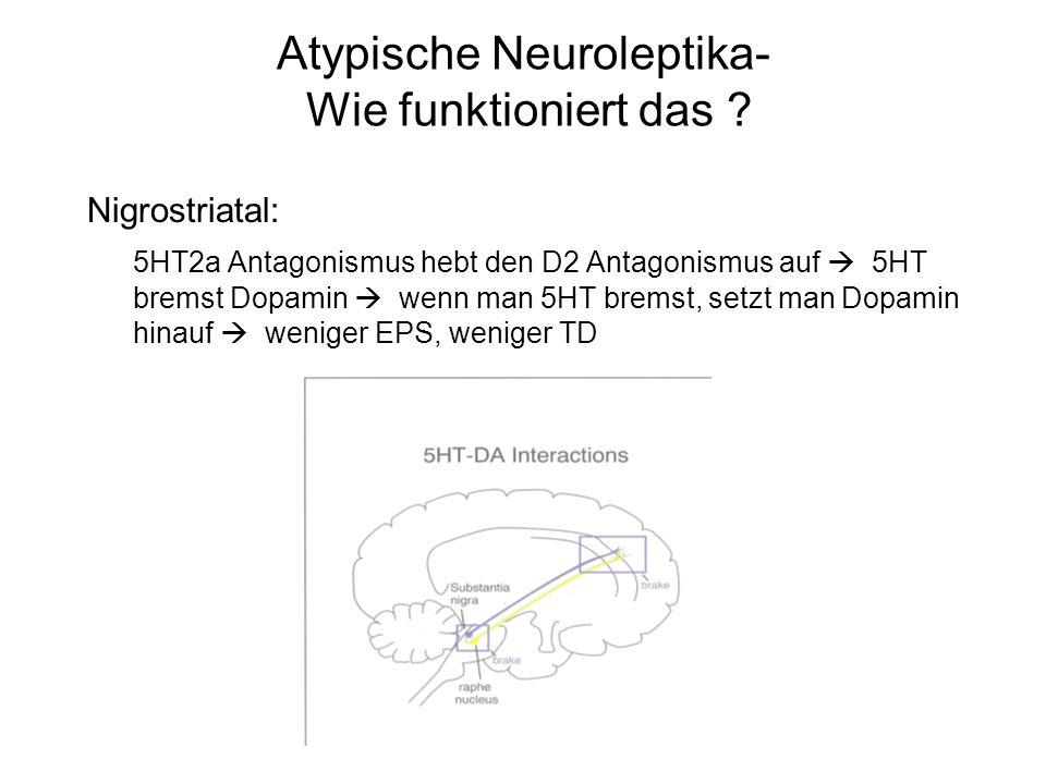Atypische Neuroleptika- Wie funktioniert das ? Nigrostriatal: 5HT2a Antagonismus hebt den D2 Antagonismus auf 5HT bremst Dopamin wenn man 5HT bremst,