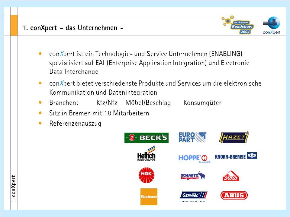 1. conXpert – das Unternehmen - 1. conXpert conXpert ist ein Technologie- und Service Unternehmen (ENABLING) spezialisiert auf EAI (Enterprise Applica