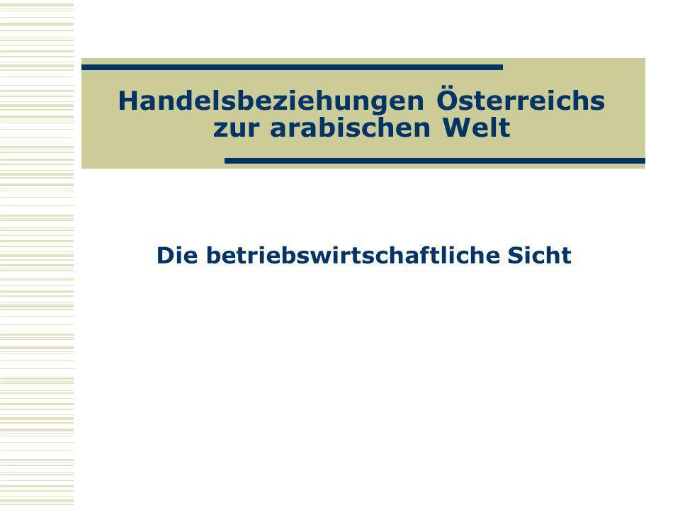 Handelsbeziehungen Österreichs zur arabischen Welt Die betriebswirtschaftliche Sicht