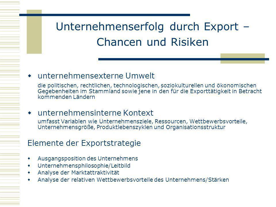 Unternehmenserfolg durch Export – Chancen und Risiken unternehmensexterne Umwelt die politischen, rechtlichen, technologischen, soziokulturellen und ö