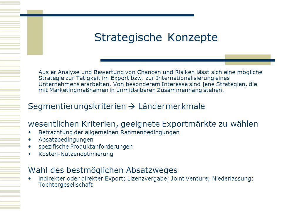 Strategische Konzepte Aus er Analyse und Bewertung von Chancen und Risiken lässt sich eine mögliche Strategie zur Tätigkeit im Export bzw. zur Interna