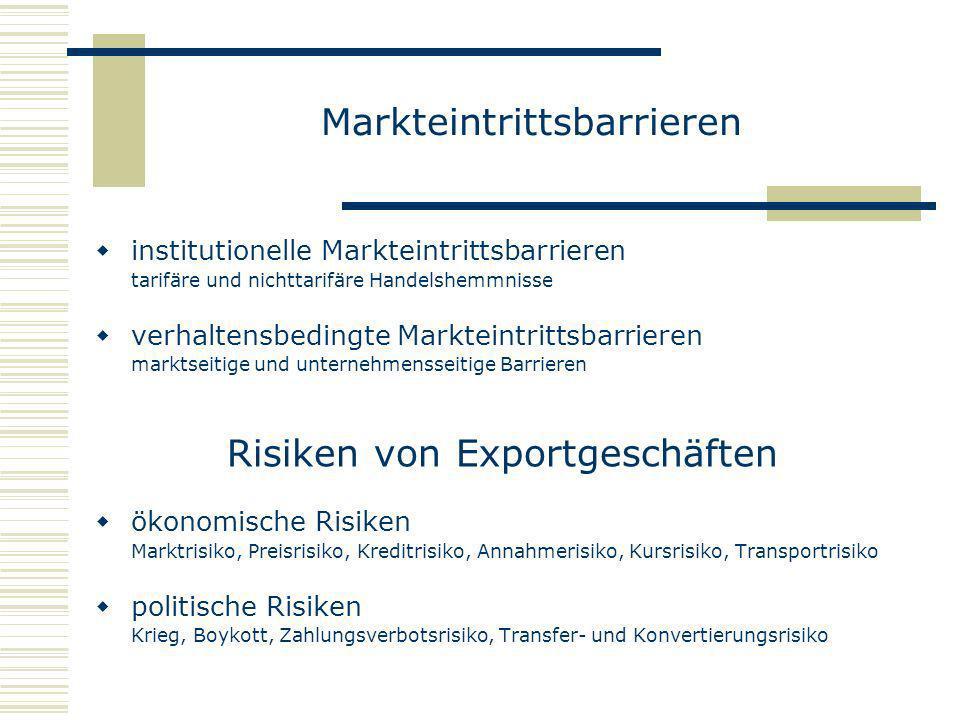 Markteintrittsbarrieren institutionelle Markteintrittsbarrieren tarifäre und nichttarifäre Handelshemmnisse verhaltensbedingte Markteintrittsbarrieren