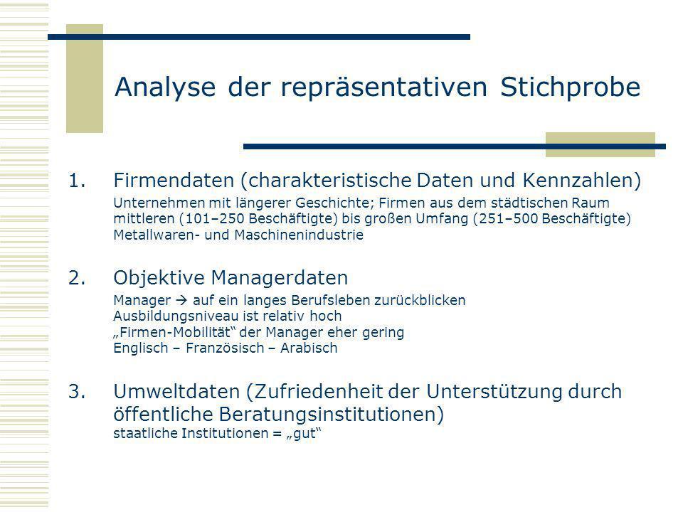 Analyse der repräsentativen Stichprobe 1.Firmendaten (charakteristische Daten und Kennzahlen) Unternehmen mit längerer Geschichte; Firmen aus dem städ