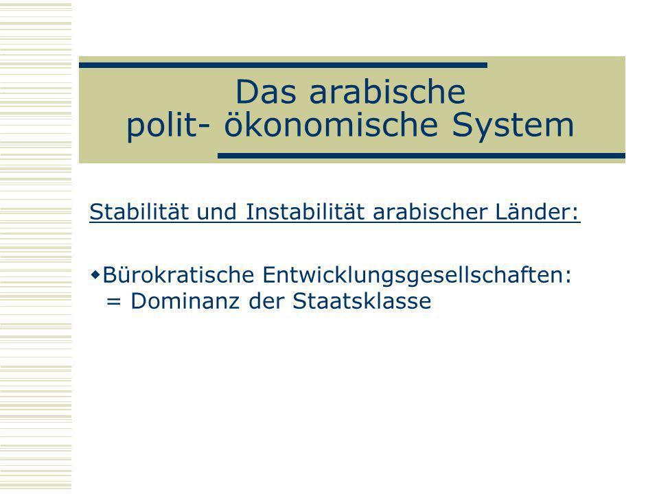 Das arabische polit- ökonomische System Stabilität und Instabilität arabischer Länder: Bürokratische Entwicklungsgesellschaften: = Dominanz der Staats