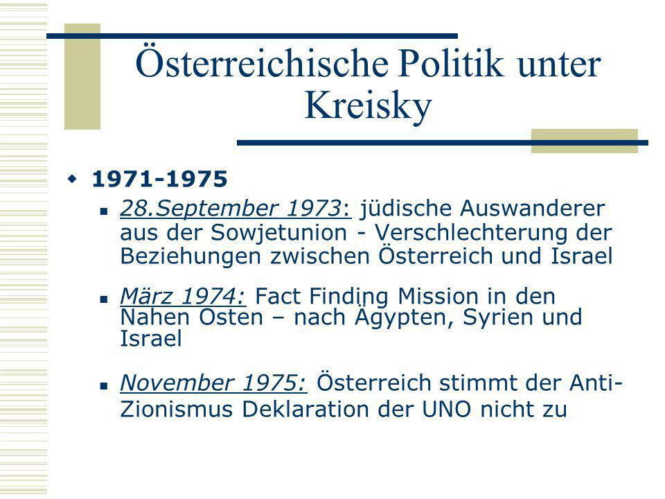 Österreichische Politik unter Kreisky 1971-1975 28.September 1973: jüdische Auswanderer aus der Sowjetunion - Verschlechterung der Beziehungen zwische