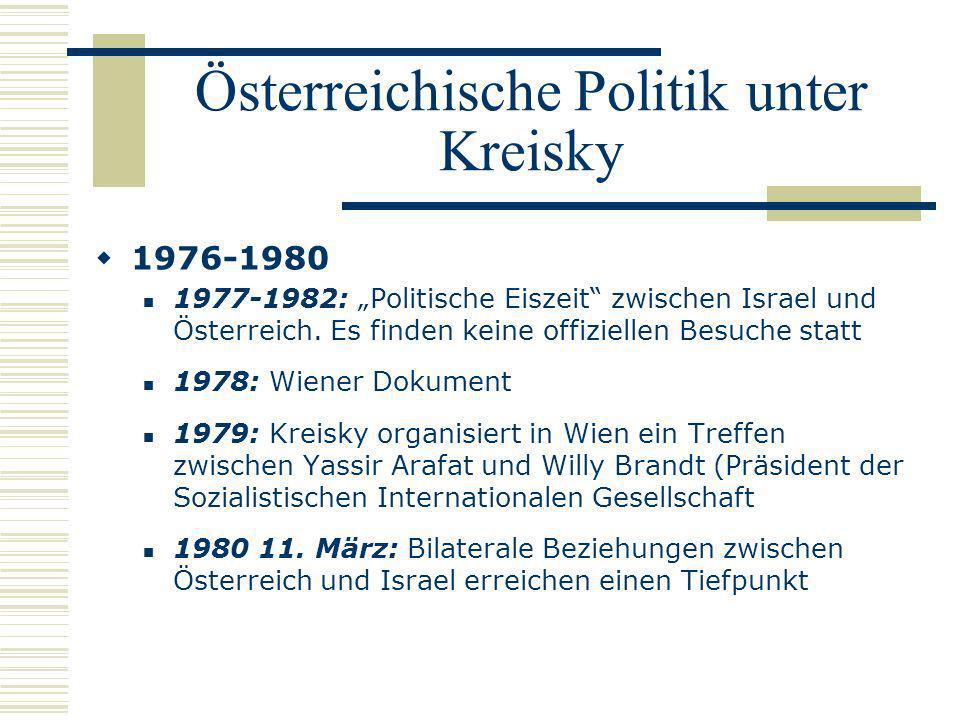 Österreichische Politik unter Kreisky 1976-1980 1977-1982: Politische Eiszeit zwischen Israel und Österreich. Es finden keine offiziellen Besuche stat