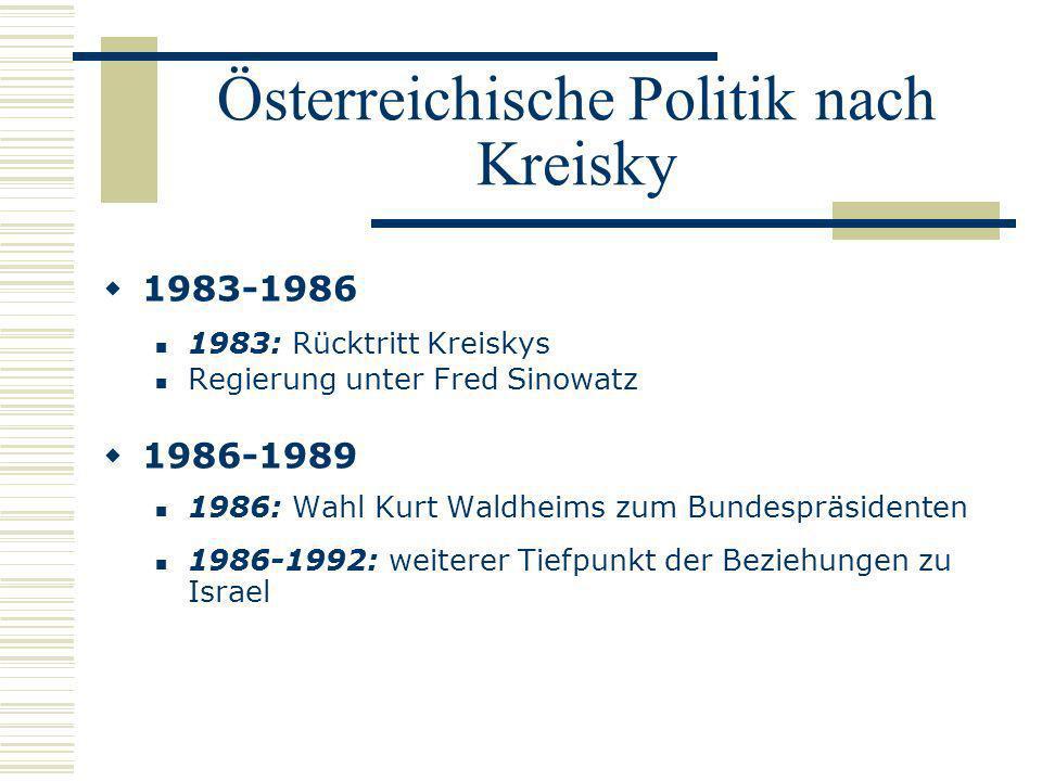 Österreichische Politik nach Kreisky 1983-1986 1983: Rücktritt Kreiskys Regierung unter Fred Sinowatz 1986-1989 1986: Wahl Kurt Waldheims zum Bundespr