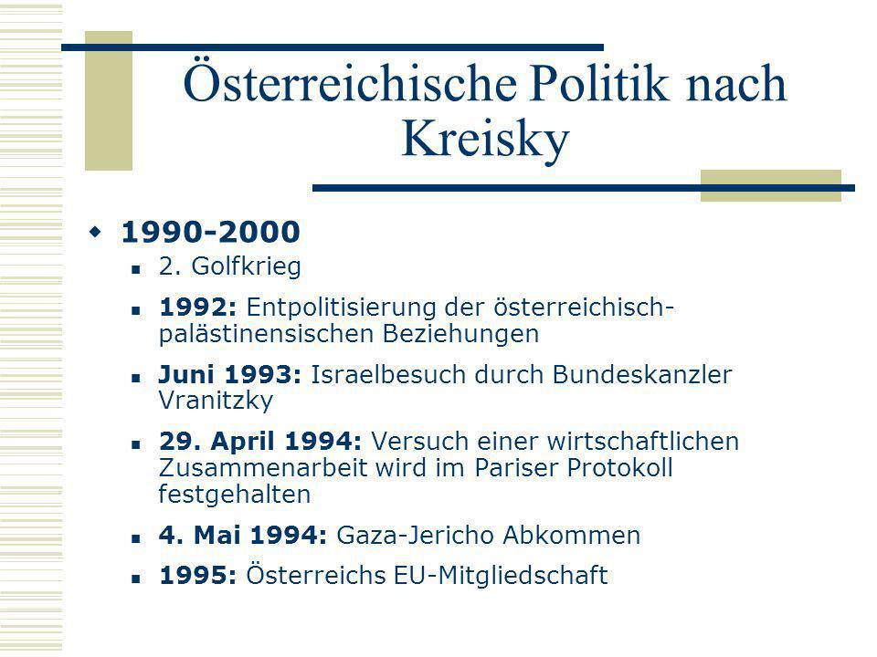 Österreichische Politik nach Kreisky 1990-2000 2. Golfkrieg 1992: Entpolitisierung der österreichisch- palästinensischen Beziehungen Juni 1993: Israel