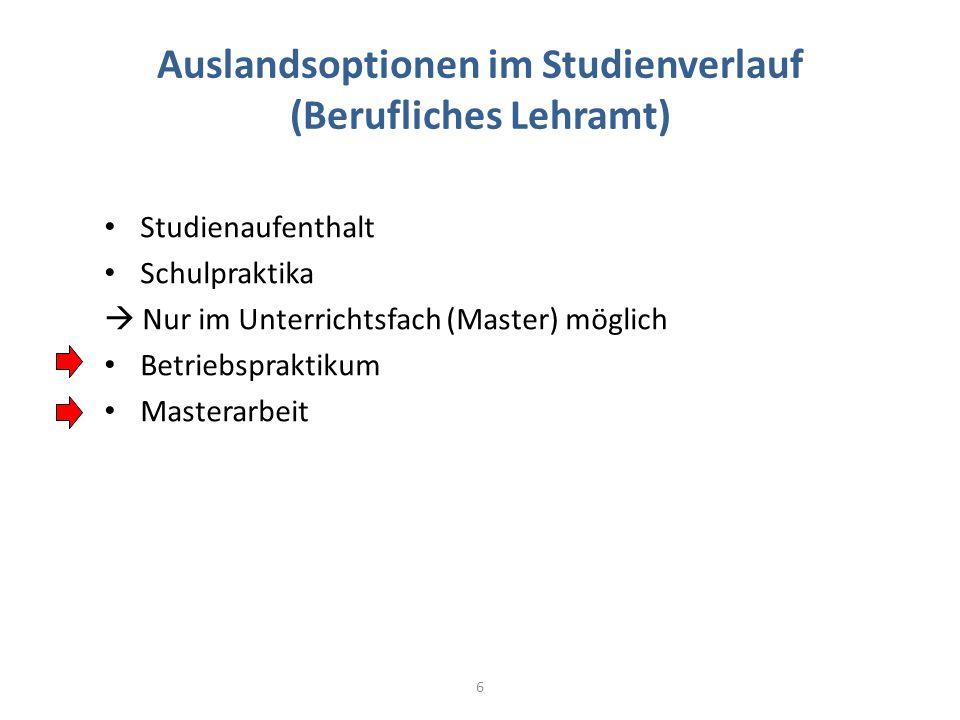 Auslandsoptionen im Studienverlauf (Berufliches Lehramt) 6 Studienaufenthalt Schulpraktika Nur im Unterrichtsfach (Master) möglich Betriebspraktikum M