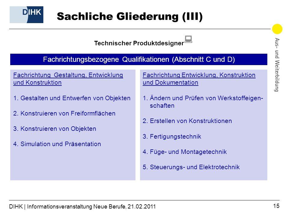 DIHK | Informationsveranstaltung Neue Berufe, 21.02.2011 15 Sachliche Gliederung (III) Technischer Produktdesigner Fachrichtung Gestaltung, Entwicklung und Konstruktion 1.