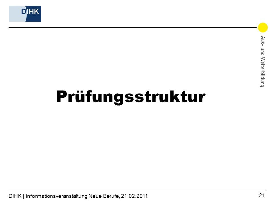 DIHK | Informationsveranstaltung Neue Berufe, 21.02.2011 21 Prüfungsstruktur