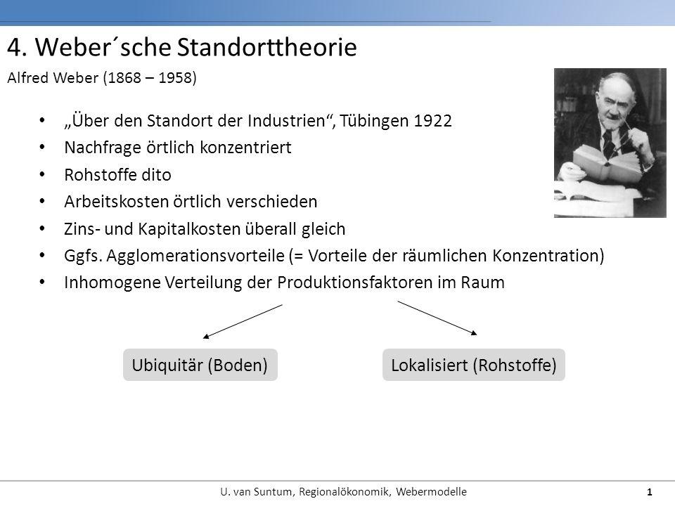 4. Weber´sche Standorttheorie Über den Standort der Industrien, Tübingen 1922 Nachfrage örtlich konzentriert Rohstoffe dito Arbeitskosten örtlich vers