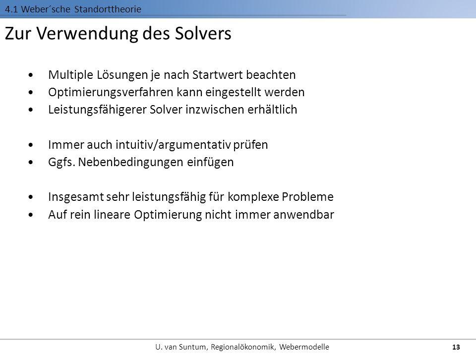 Zur Verwendung des Solvers 4.1 Weber´sche Standorttheorie Multiple Lösungen je nach Startwert beachten Optimierungsverfahren kann eingestellt werden Leistungsfähigerer Solver inzwischen erhältlich Immer auch intuitiv/argumentativ prüfen Ggfs.