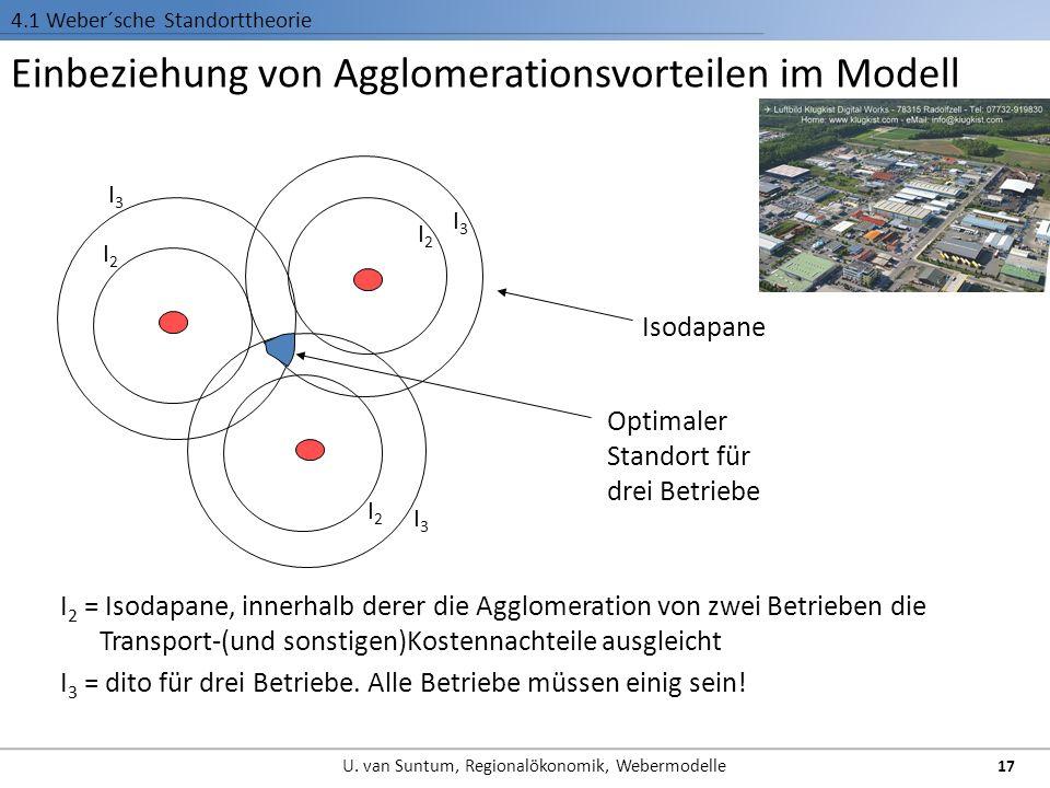 Einbeziehung von Agglomerationsvorteilen im Modell 4.1 Weber´sche Standorttheorie I 2 = Isodapane, innerhalb derer die Agglomeration von zwei Betriebe
