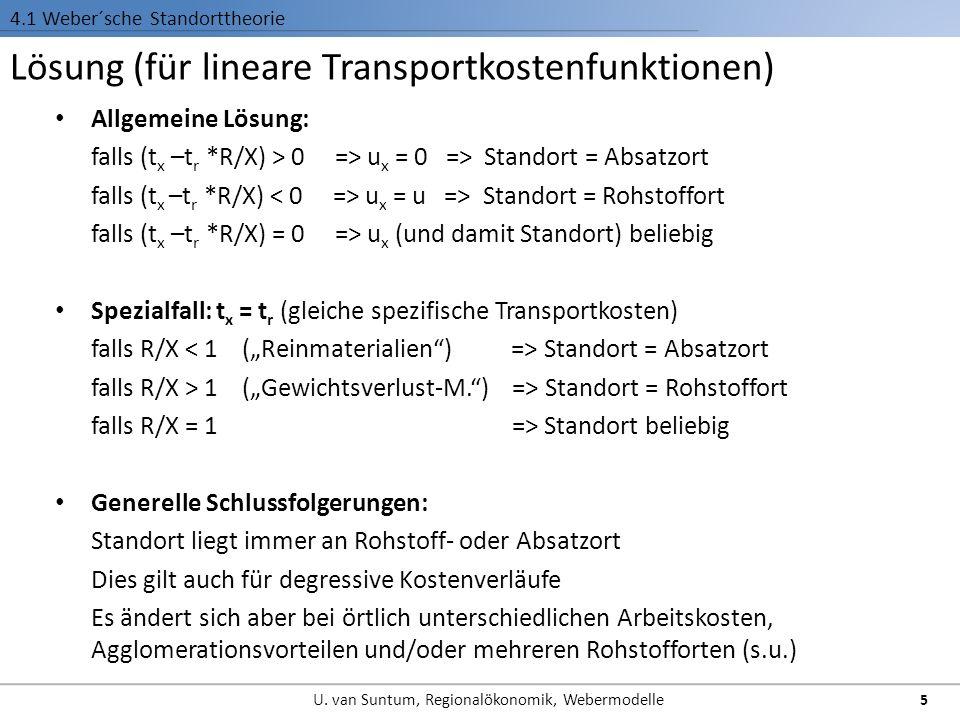 Lösung (für lineare Transportkostenfunktionen) 4.1 Weber´sche Standorttheorie Allgemeine Lösung: falls (t x –t r *R/X) > 0 => u x = 0 => Standort = Absatzort falls (t x –t r *R/X) u x = u => Standort = Rohstoffort falls (t x –t r *R/X) = 0 => u x (und damit Standort) beliebig Spezialfall: t x = t r (gleiche spezifische Transportkosten) falls R/X Standort = Absatzort falls R/X > 1 (Gewichtsverlust-M.) => Standort = Rohstoffort falls R/X = 1 => Standort beliebig Generelle Schlussfolgerungen: Standort liegt immer an Rohstoff- oder Absatzort Dies gilt auch für degressive Kostenverläufe Es ändert sich aber bei örtlich unterschiedlichen Arbeitskosten, Agglomerationsvorteilen und/oder mehreren Rohstofforten (s.u.) 5 U.