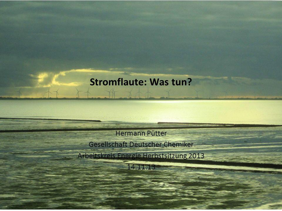 Stromflaute: Was tun? Hermann Pütter Gesellschaft Deutscher Chemiker Arbeitskreis Energie Herbstsitzung 2013 14.11.13