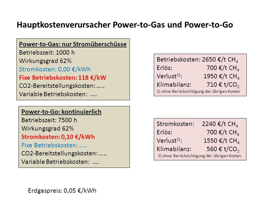 Hauptkostenverursacher Power-to-Gas und Power-to-Go Power-to-Gas: nur Stromüberschüsse Betriebszeit: 1000 h Wirkungsgrad 62% Stromkosten: 0,00 /kWh Fi