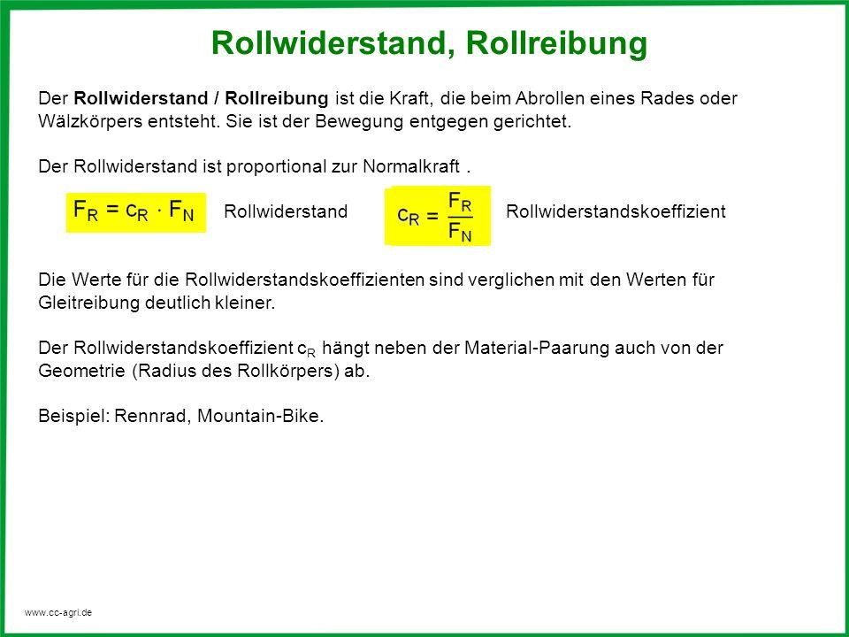 www.cc-agri.de Der Rollwiderstand / Rollreibung ist die Kraft, die beim Abrollen eines Rades oder Wälzkörpers entsteht. Sie ist der Bewegung entgegen