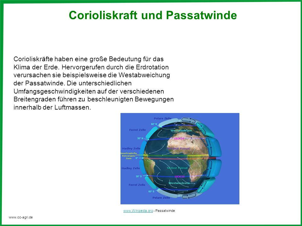 www.cc-agri.de Corioliskraft und Passatwinde Corioliskräfte haben eine große Bedeutung für das Klima der Erde. Hervorgerufen durch die Erdrotation ver
