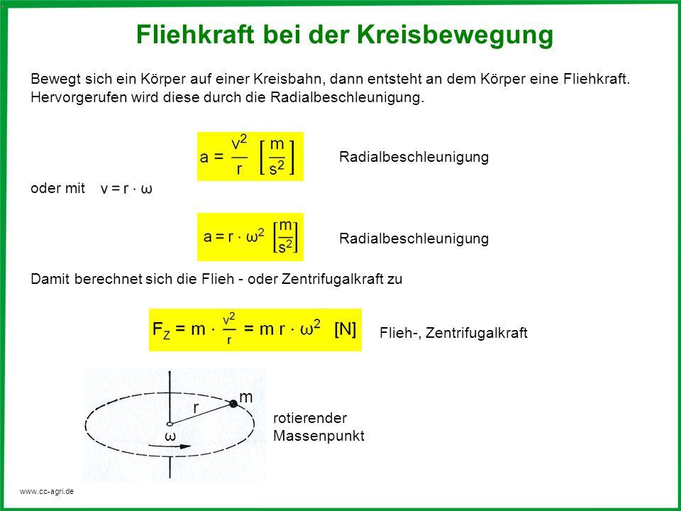 www.cc-agri.de Bewegt sich ein Körper auf einer Kreisbahn, dann entsteht an dem Körper eine Fliehkraft. Hervorgerufen wird diese durch die Radialbesch