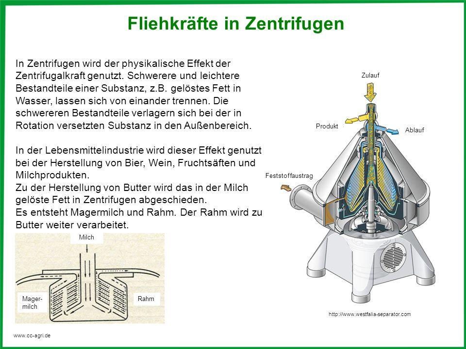 www.cc-agri.de Fliehkräfte in Zentrifugen In Zentrifugen wird der physikalische Effekt der Zentrifugalkraft genutzt. Schwerere und leichtere Bestandte