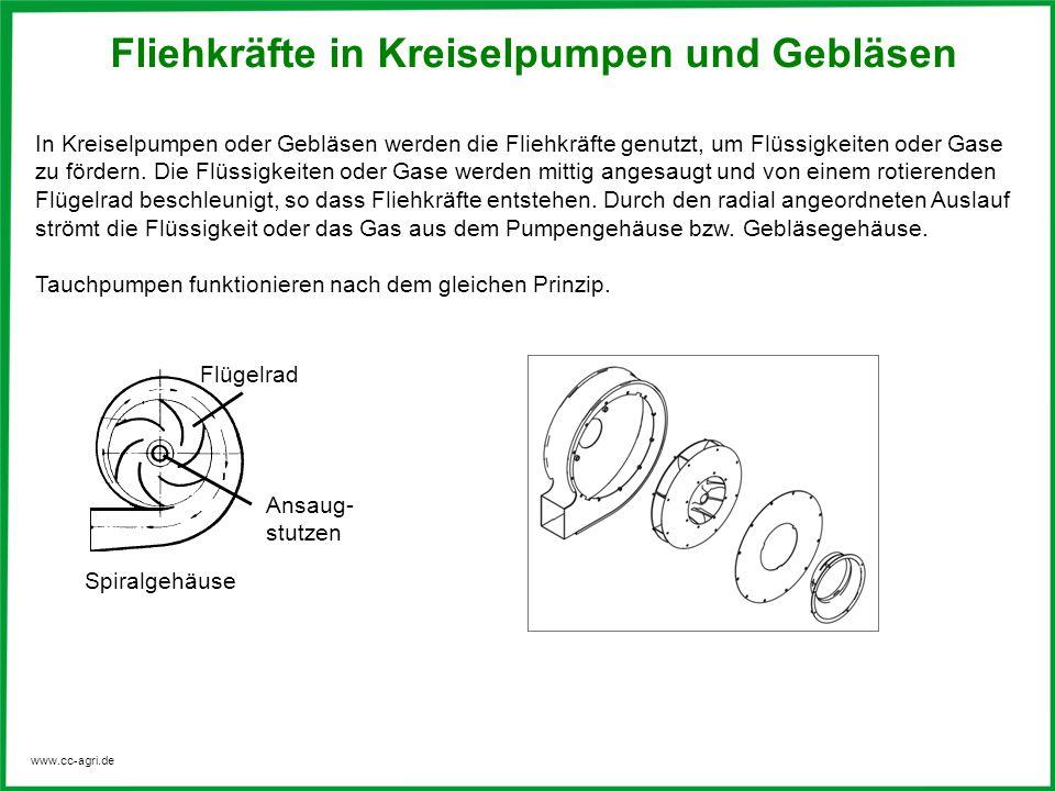 www.cc-agri.de Fliehkräfte in Kreiselpumpen und Gebläsen In Kreiselpumpen oder Gebläsen werden die Fliehkräfte genutzt, um Flüssigkeiten oder Gase zu