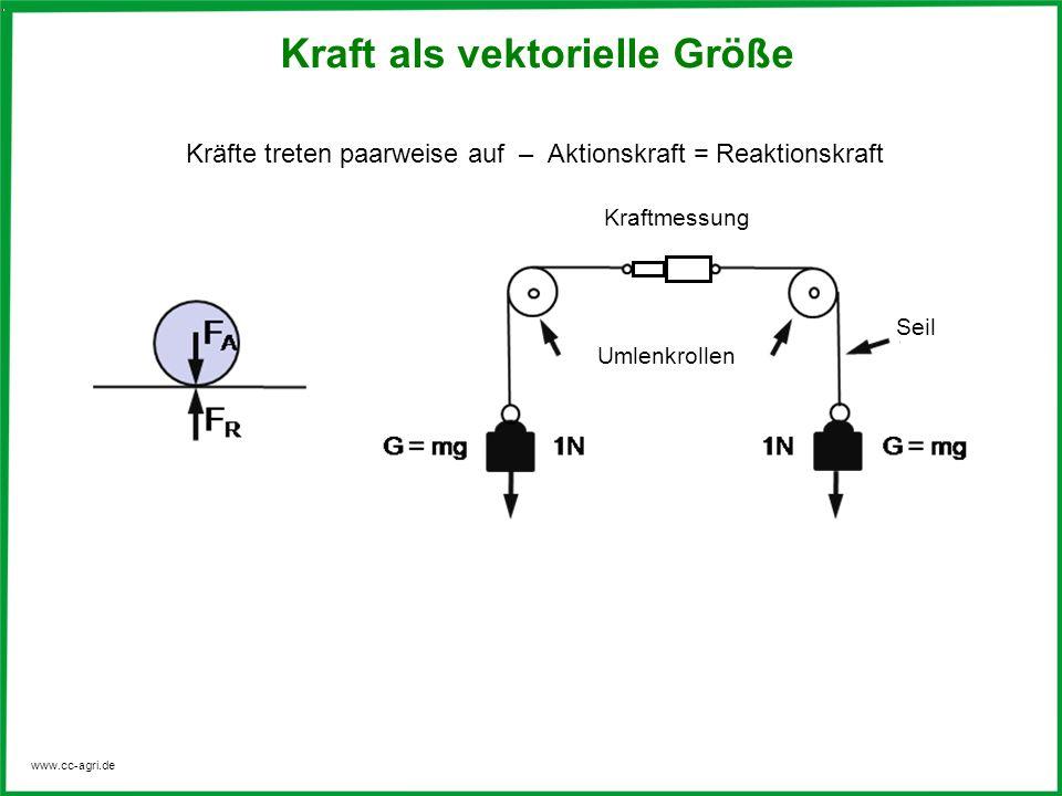 www.cc-agri.de Greifen mehrere Kräfte an einem Punkt an, dann spricht man von Teilkräften oder auch Komponenten, die sich zu einer resultierenden Gesamtkraft F zusammenfassen lassen.