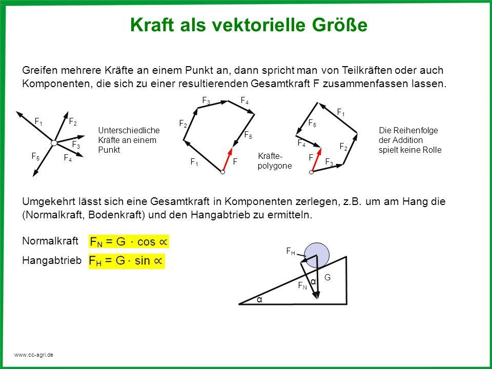 www.cc-agri.de Greifen mehrere Kräfte an einem Punkt an, dann spricht man von Teilkräften oder auch Komponenten, die sich zu einer resultierenden Gesa