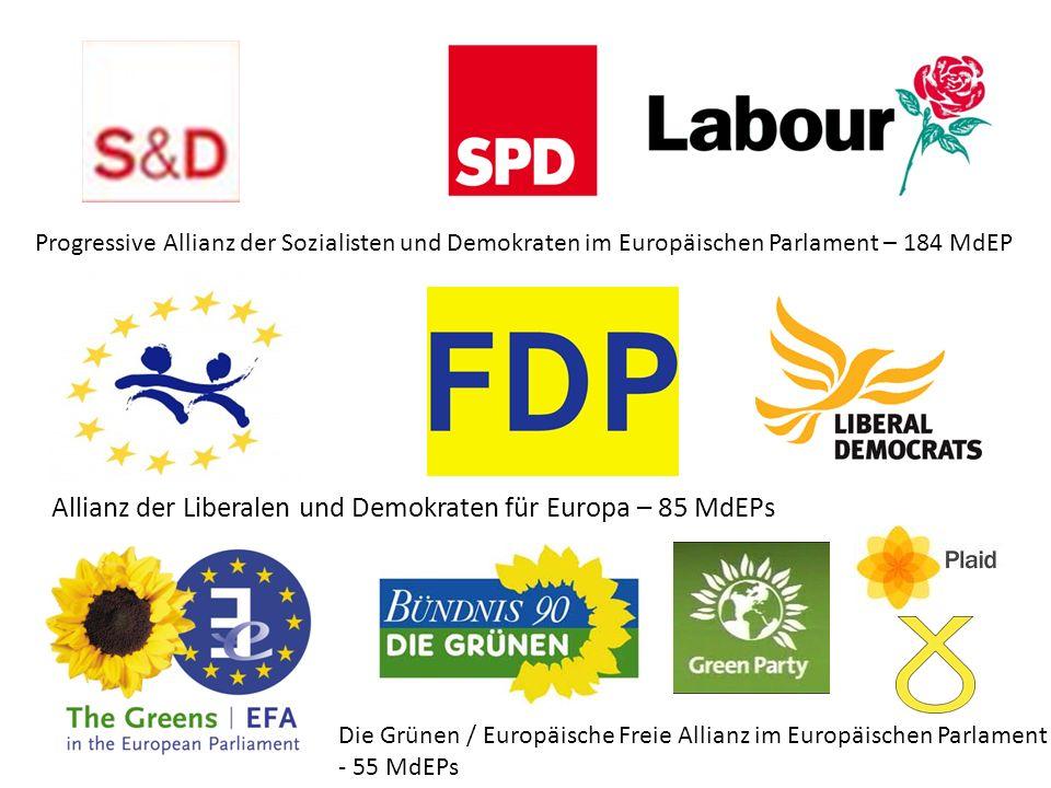 Progressive Allianz der Sozialisten und Demokraten im Europäischen Parlament – 184 MdEP Allianz der Liberalen und Demokraten für Europa – 85 MdEPs Die Grünen / Europäische Freie Allianz im Europäischen Parlament - 55 MdEPs