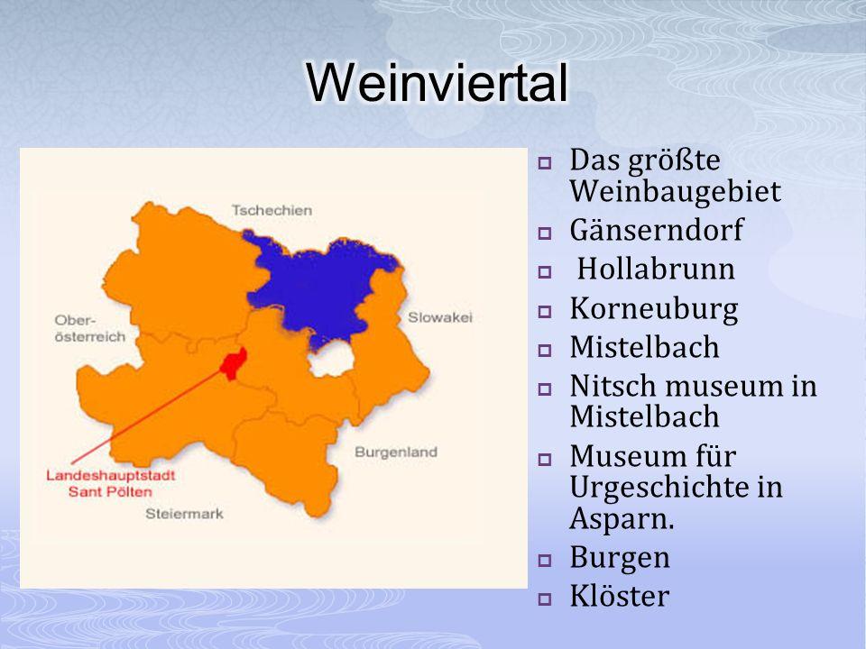 Das größte Weinbaugebiet Gänserndorf Hollabrunn Korneuburg Mistelbach Nitsch museum in Mistelbach Museum für Urgeschichte in Asparn. Burgen Klöster