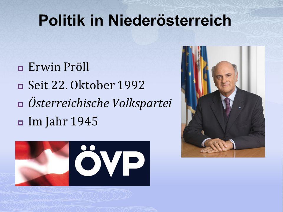 Erwin Pröll Seit 22. Oktober 1992 Österreichische Volkspartei Im Jahr 1945 Politik in Niederösterreich